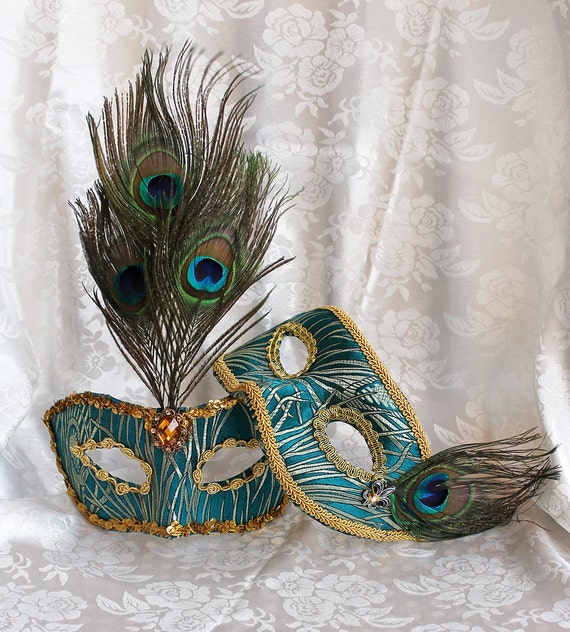 Couples Matching Peacock Green Brocade Masquerade Masks With Peacock Feathers