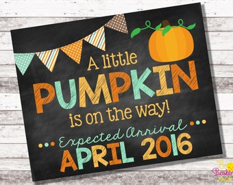 Pumpkin Pregnancy Announcement | Fall Pregnancy Announcement | A Little Pumpkin is on the Way | Chalkboard Sign | Fall Photo Prop | Digital