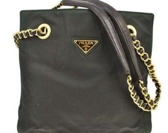 Rare authentic Prada bag tote khaki green with gold chain vintage