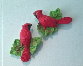 Pair of Chalkware Birds Cardinals Mid century Decor Kitschy Decor