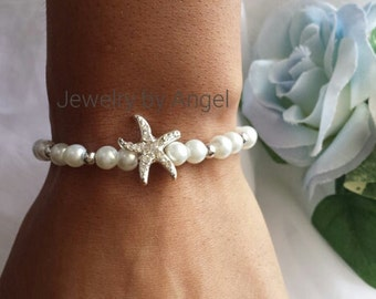 READY TO SHIP - Pearl & Silver Rhinestone Starfish Bracelet