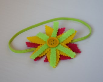 Neon Green With Pink Flower Headband