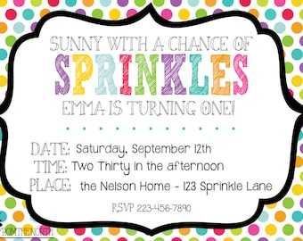 Sunny With a Chance of Sprinkles Birthday Invite - Custom Printable - from the NORTH
