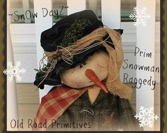Primitive Snowman Pattern SnOw DayZ Prim Snowman Raggedy  Christmas ePattern