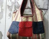 Twelve Pocket Tote,Upcycled Clothing Bag,Overnight Bag,Large Tote Bag