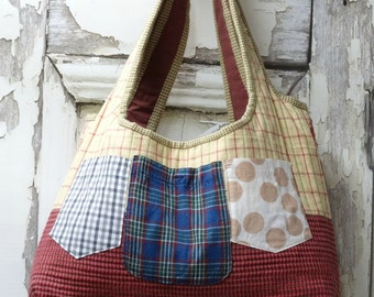 Twelve Pocket Tote,Upcycled Clothing,Large Overnight Bag,Reuse Repurpose
