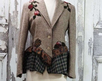 Brown Wool Bustle Jacket, Upcycled Clothing, Steampunk Jacket,Artsy Clothing, Wearable Art