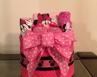 Pink Minnie Mouse Baby Girl Diaper Cake