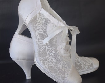 """Wedding shoes, Handmade 2.5"""" Heels Satin and Lace Weding shoes #8445"""