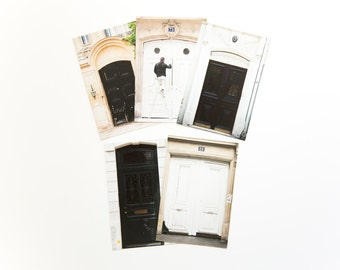 French Postcard Set - Paris Door Photographs in Black and White, set of 5