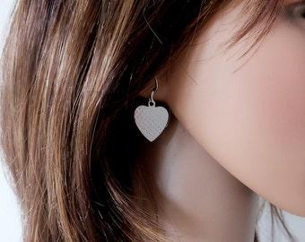 Silver Strawberry Heart Earrings, Silver Heart Drop Earrings, Silver Heart Earrings, Mothers Day Gift, Romantic Gift, Anniversary Gift