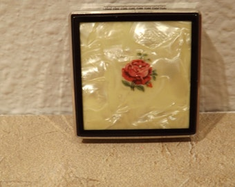 Beautiful Square Compact With Rose Design