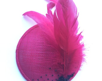 Hot Pink fascinator with feather detail and black beads and sequin embellishment