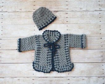 Baby Boy Sweater Set - Baby Sweater Hat Set - Baby Cardigan - Baby Outfit - Baby Jacket - Gray/Blue Baby Sweater Set - Boy Baby Shower Gift