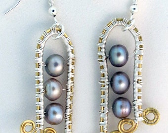 Wire Wrapped Fresh Water Pearl Earrings