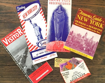 1950's New York City travel brochures • sightseeing | Empire State Building | ticket stubs • maps • souvenir travel papers