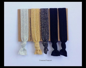 5 Glitter HAIR TIES, HOLIDAY Edition, New Years Eve 2016, Glitter, Sparkly, Black, Silver, Gold, elastic Yoga Bands, Christmas Gift, Holiday