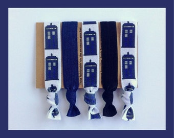 TARDIS HAIR TIE Set, Hlair Bands, Blue Police Box, Doctor Who, Sci Fi, Hair Ties, Stocking Stuffer Christmas Gift, Cyber Monday