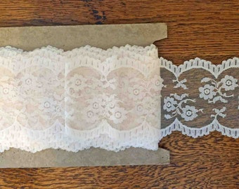 Entire Bolt (27 Yards) of Wide Ecru Ivory Vintage Lace Trim - 4.5 inches wide, scalloped edges, floral, bridal