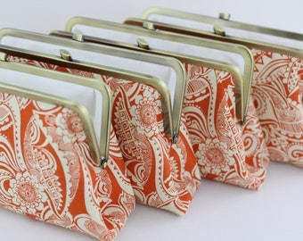 Orange Paisley Bridesmaids Clutches / Orange Flower Clutches / Paisley Wedding Clutches - Set of 4