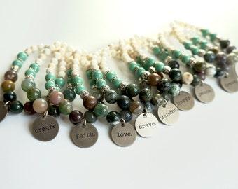 Charm Bracelet, Jasper Bracelet, Beaded Bracelet, Word Bracelet,