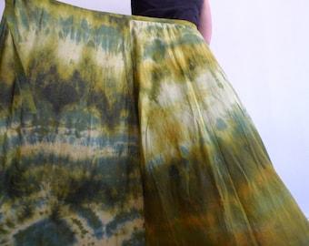 Handmade tie-dyed beautiful green cotton maxi skirt