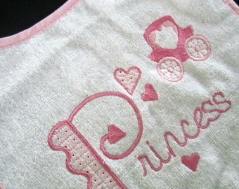 Princess baby bib, pink and white embroidered snap back bib, fits baby up to about 12 months, baby accessory, baby girl item, princess item