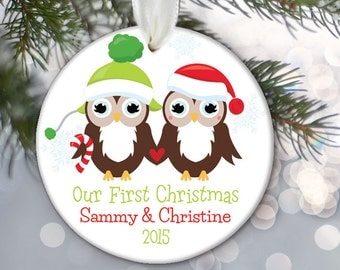 Personalized Owl Christmas Ornament, Our First Christmas, Couples Ornament, Married Ornament, Together Ornament, Mr. and Mrs. Ornament OR603