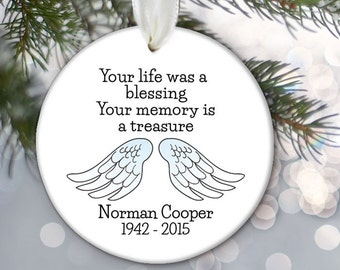 Memorial Christmas Ornament, Your life was a blessing, Pink or Blue Angel wings Ornament, Memorial Gift In Memory of, In Loving Memory OR694