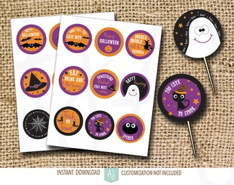Halloween Cupcake Toppers or Stickers-Print at Home- Nine Per Page-Customization NOT Included
