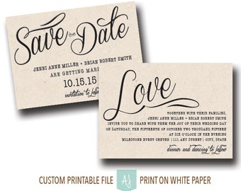 Simple, Wedding Invite or Save the Date, Rustic Style- For the DIY Bride- Digital File- Printable Save the Date