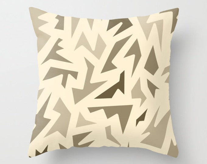 Brown Abstract Pillow Cover - Includes Pillow Insert - Brown Zig Zag Art - Sofa Pillow - Throw Pillow - Made to Order