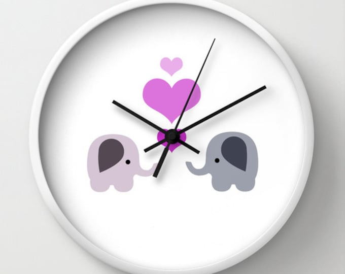 Elephant Love Nursery Clock -  Wall Clock - Elephants with Hearts - Made to Order
