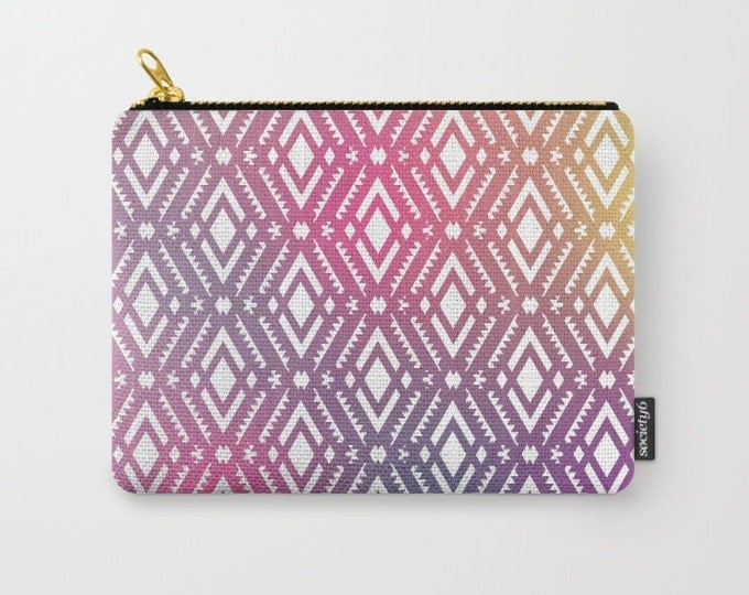 Pink Tribal Carry All Pouch - Make-up Bag-Original Photograph- Pouch- Toiletry Bag - Change Purse - Organizing Bag - Made to Order