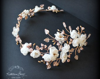 Rose Gold Bridal Hair Wreath Headband Crown Handmade Fabric Floral Wedding Hair Accessory Ivory STYLE: Wendy