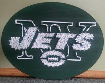 "11x14"" NFL New York Jets String Art on an all Green Plaque, Perfect for Mancave"