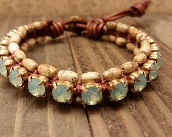 Bohemian Jasper Rhinestone Leather Cuff Stacker Bracelet