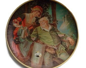 Vintage Beer Tray Falstaff Beer Very Large Round Tray Wall Plaque Barware Man Cave Beer Advertising Collectible Vintage Breweriana