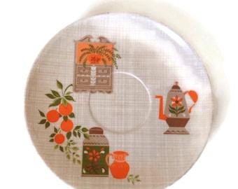 Mid Century Melamine Saucers Kitchen Kitsch Set of 8 60's Vintage Kitchen Melamine Dinnerware Housewares-Plastic Dishes-Orange
