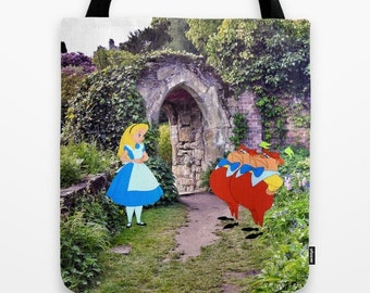 Alice in Wonderland with Tweedledee and Tweedledum in the Garden Tote Bag