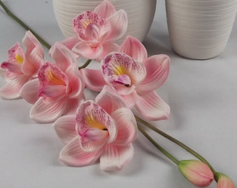Real Touch Orchid  Pink Orchid Tall Flowers Centerpieces 70cm Light Pink Cymbidium Orchid 5 Flower Heads 2 Buds Bridal Wedding Flowers
