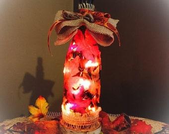 Wine Bottle Light! Fall season themed!