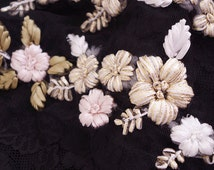 hand sewn embroidery appliques, ribbon flowers embroidery appliques, 2 sets