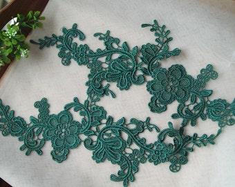 green lace applique by pairs, venice lace applique
