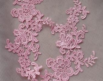 pink lace applique by pairs, venice lace applique