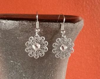 Silver Swarovski Crystal Filigree Dangle Earrings - E-047