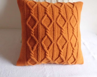 Dark Orange Cable Knit Pillow Case, Throw Pillow, Knitted Pillow Cover, Hand Knit Cushion Cover, Decorative Pillow