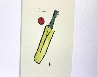 Cricket bat and ball linocut print