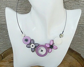 Colourful necklace, Tropical necklace, Flower necklace, Girly necklace, lilac necklace, purple necklace, grey necklace, Lightweight necklace
