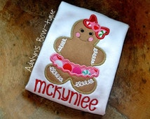gingerbread girl christmas applique girls shirt, baby bodysuit or infant gown